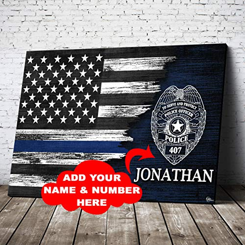 Personalized Police Officer Thin Blue Line Lives Matter Patriot American Flag Canvas Prints Wall Art Birthday Home Decor Christmas Patriotic Customized Gifts for Dad Mom Wife Husband Son Daughter Kids