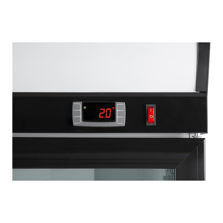Royal Catering RCGK-B630-2 Vetrina frigo per bibite Frigorifero per bevande 630 L, 350 W, acciaio veniciato a polvere, bianco//nero, 8 ripiani, 50 dB
