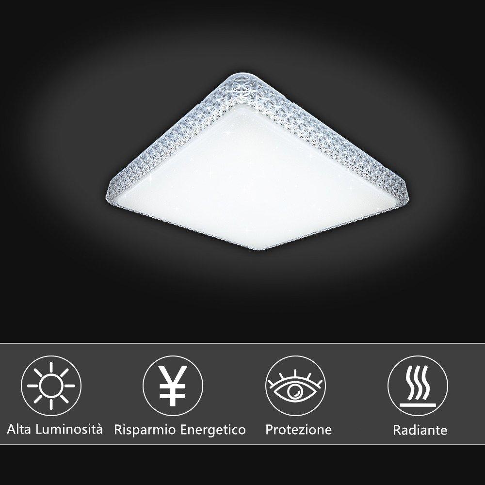 VGO® 60W LED Kristall Deckenleuchte Deckenlampe Kaltweiß Starlight Eckig Deckenbeleuchtung Wohnzimmer Sternenhimmel Deckenlampe Deckenleuchte Korridor Schlafzimmer Schönes 6000K-6500K Mordern Badleuchte ff2261