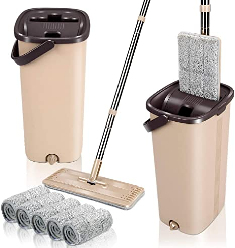 Flat Squeeze Mop And Bucket Free Washing Self Cleaning Microfiber Mop Pads Set