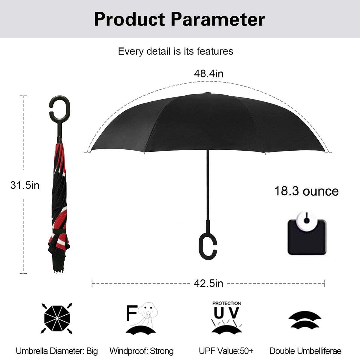 Windproof And Rainproof Double Folding Inverted Umbrella With C-Shaped Handle UV Protection Inverted Folding Umbrellas Japan Anime Naruto Car Reverse Umbrella