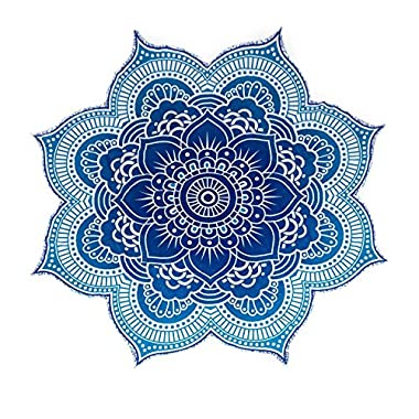 The Boho Street - 100% Cotton Large Round Lotus Flower Mandala Light Weight Tapestry - Outdoor Beach Roundie - Hippie Gypsy Boho Throw Towel Tablecloth Hanging Ocean Blue Turquoise Huge 78