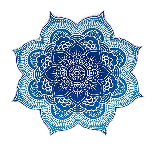 The Boho Street - 100% Cotton Large Round Lotus Flower Mandala Light Weight Tapestry - Outdoor Beach Roundie - Hippie Gypsy Boho Throw Towel Tablecloth Hanging Ocean Blue Turquoise Huge 78""