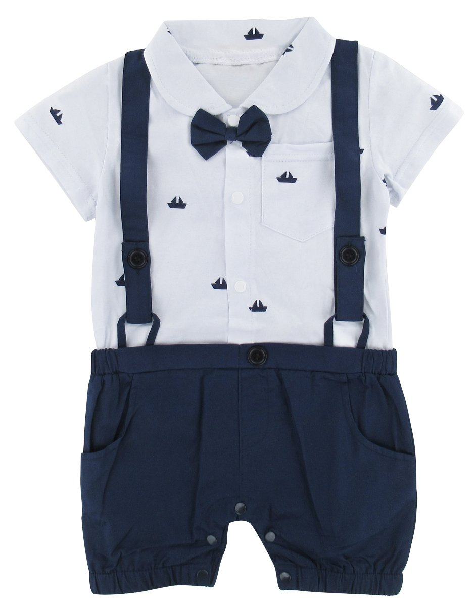 A&J Design Infant Baby Boys' Bowtie Gentleman Romper with Straps Overall (3-6 Months, White)