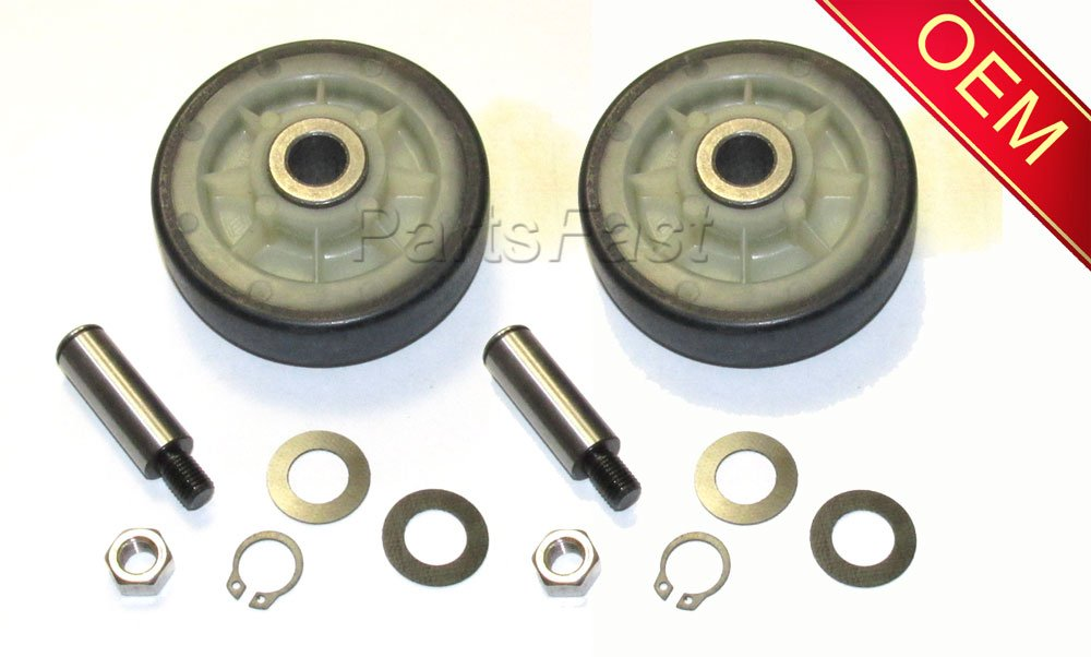 AH1570070 - (2PACK) 2 NEW CLOTHES DRYER COMPLETE DRUM SUPPORT ROLLER KIT ASSEMBLY WITH WASHERS AND SHAFT FOR MAYTAG WHIRLPOOL AND MORE