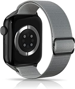 ARCEED Adjustable Stretchy Bands Compatible with Apple Watch Band 38mm 40mm 42mm 44mm,Women Men Elastic Sport Solo Loop Nylon Wristbands for iWatch Series SE/6/5/4/3/2/1(Storm Gray,38/40mm)