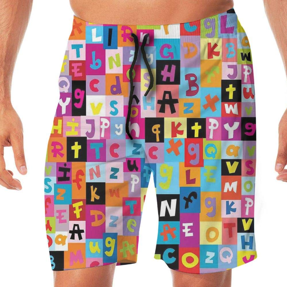 Haixia Men's Adjustable Swim Trunk Abstract Colored Alphabet Letters Pattern Ed