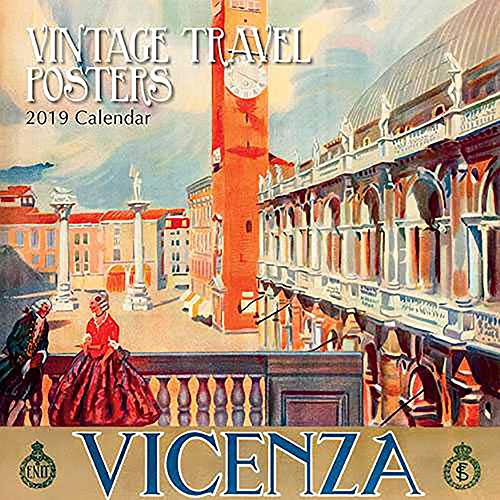2019 Wall Calendar - Vintage Travel Posters Calendar, 12 x 12 Inch Monthly View, 16-Month, Vintage Photos Theme, Includes 180 Reminder Stickers