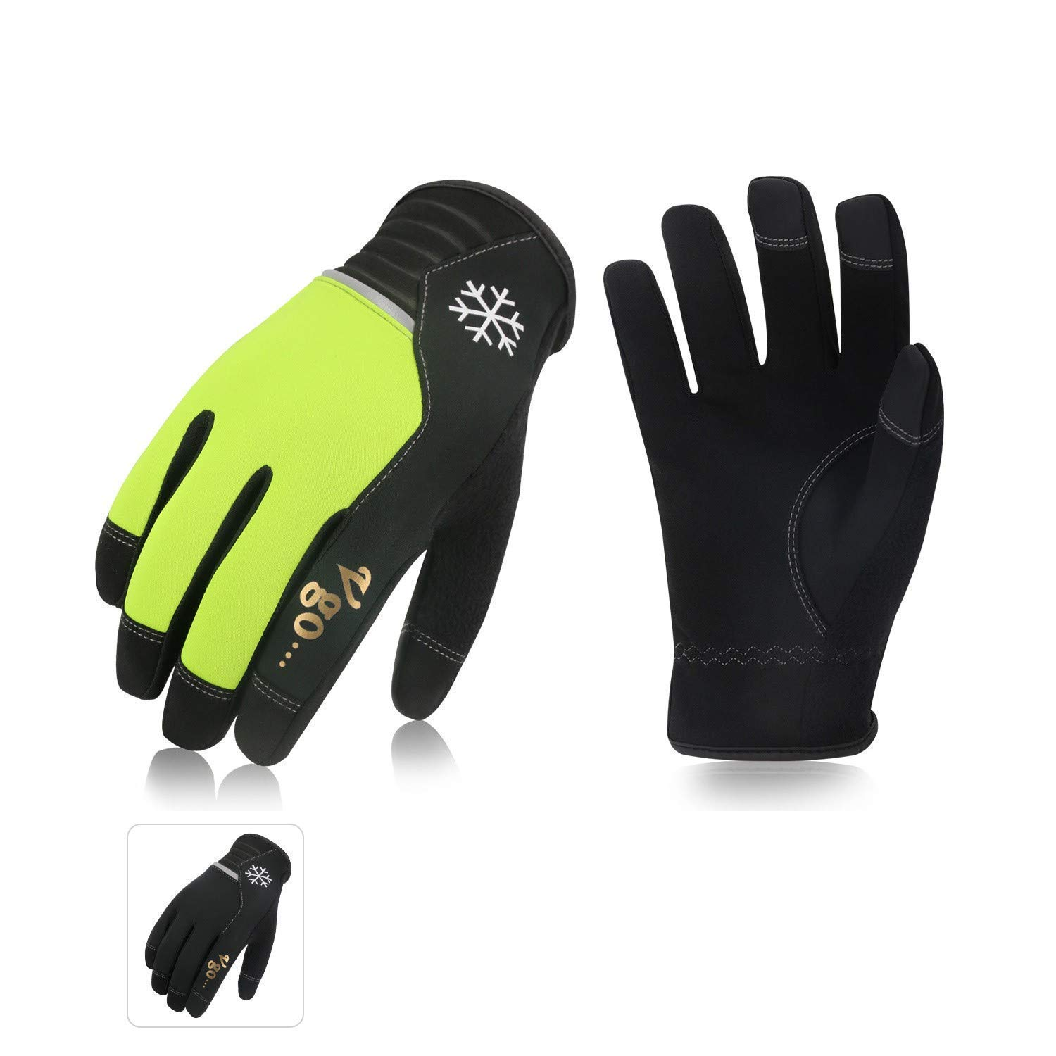 Vgo 2Pairs 41℉ or Above Winter Leather Gloves High Dexterity Cold Storage Work Gloves,Touchscreen (Size M,Black&Fluorescent Green,AL8772)