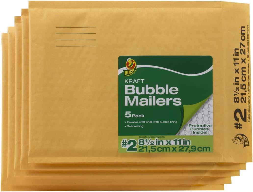 Duck Brand Kraft Bubble Mailers, 2-8.5 x 11 Inches, 5-Pack (284692) : Padded Envelopes : Office Products
