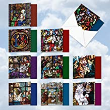 """AMQ6127XSG-B1x10 A Star Is Born: 10 Assorted Set of New 'Square-Top' Cards Featuring Glorious Images of the Nativity Recorded on Stained Glass, with Envelopes (Size: 4"""" x 5"""")"""