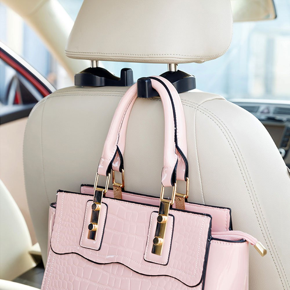 4 Beige Madeggs Car Headrest Hook Back Seat Hanger for Purse Handbags Shopping Bags and More Items 4-Pack