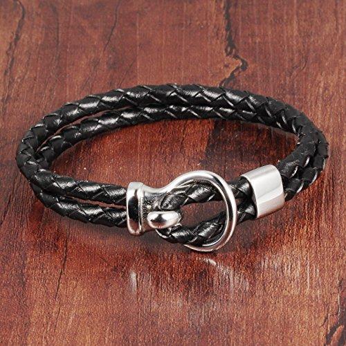 HOUSWEETY Bracelet Bangle Bande PU Cuir Tricot Ajustable Fermoir Acier Inoxydable Personnalite pour Homme et Femme
