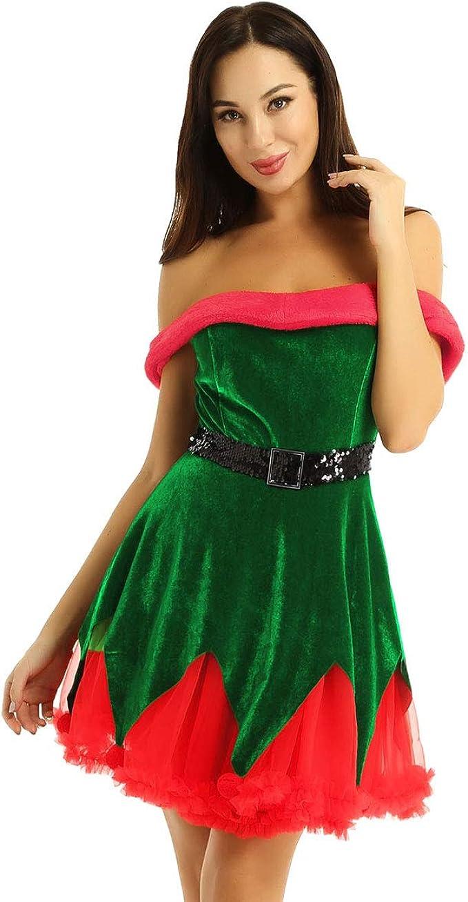ranrann Vestido de Terciopelo Navidad para Mujer Disfraz Duende ...