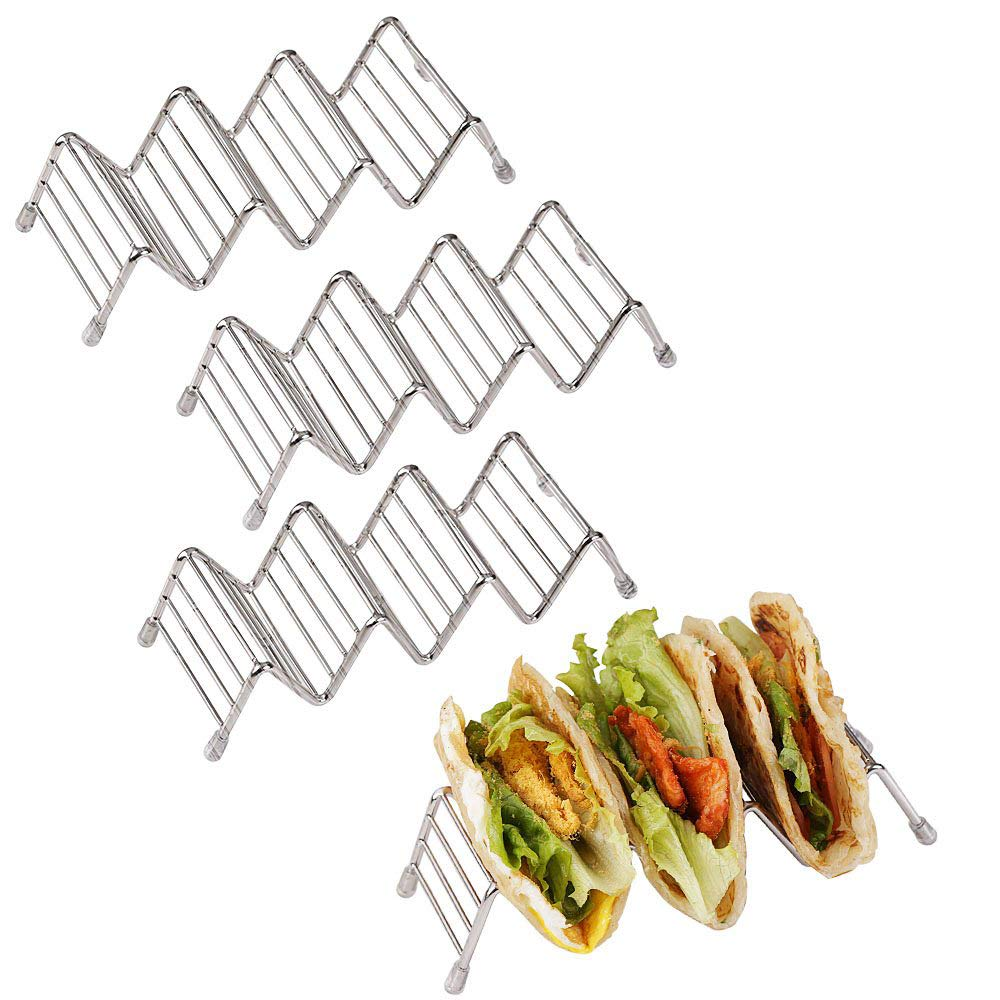 Disumos Taco Holder Stand 4 Packs Stainless Steel Taco Rack Good Holder Stand on Table Hold Shell Taco Safe for Baking as Truck Tray(3-4) by Disumos