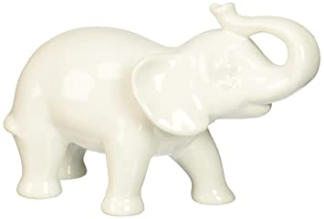 Abbott Collection Ceramic Elephant Figurine, White (Small)