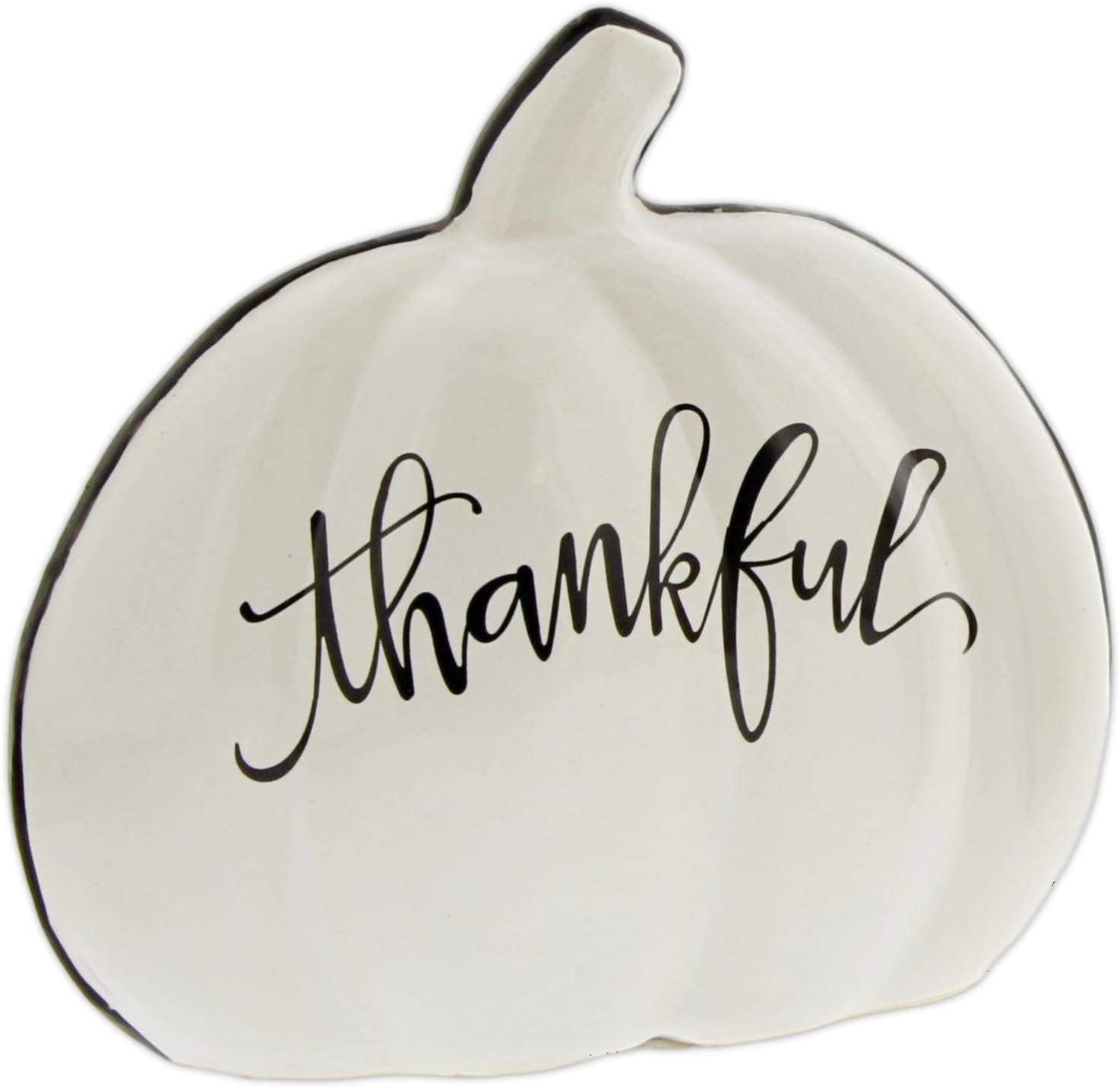 The Bridge Collection Black & White Ceramic Pumpkin Decor (Thankful)