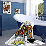 King Pattern towel set King of Clubs Playing Gambling Poker Card Game Leisure Theme without Frame Artwork Square scarf set Multicolor