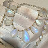 106tct FLASHY AAAAA Quality Rainbow Moonstone Necklace Yellow Gold Fill Accents