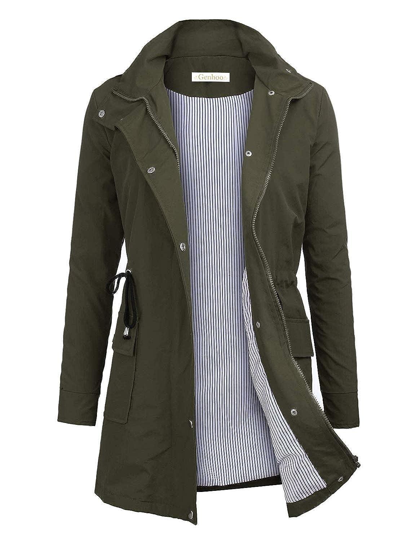 Genhoo Women Waterproof Raincoat Lightweight Hooded Rain Jacket Outdoor Rain Trench Coat Jacket Windbreaker Outwear