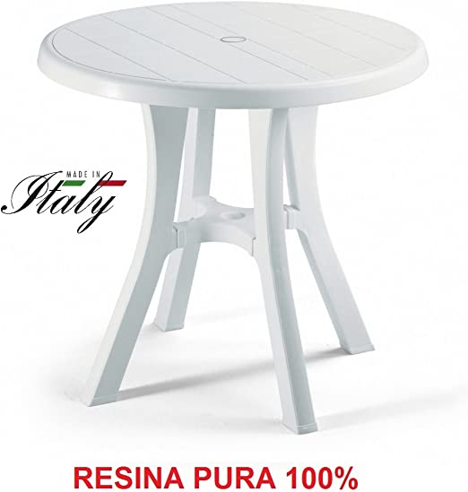 ALTIGASI Mesa Blanco para Exterior Modelo Pol diámetro 80 cm de ...