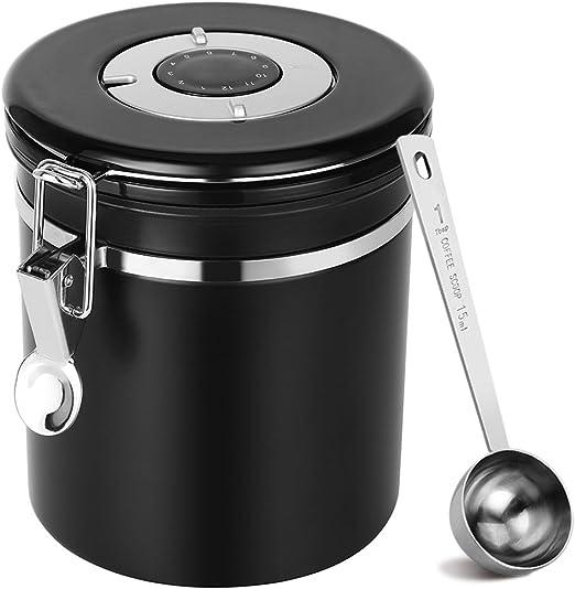 Sofhom Kaffeedose Luftdicht, Kaffeebehälter aus Edelstahl mit Datumsanzeige, Vorratsdose Vakuum Dose mit Löffel für Kaffeebohnen, Pulver, Tee, Nüsse,
