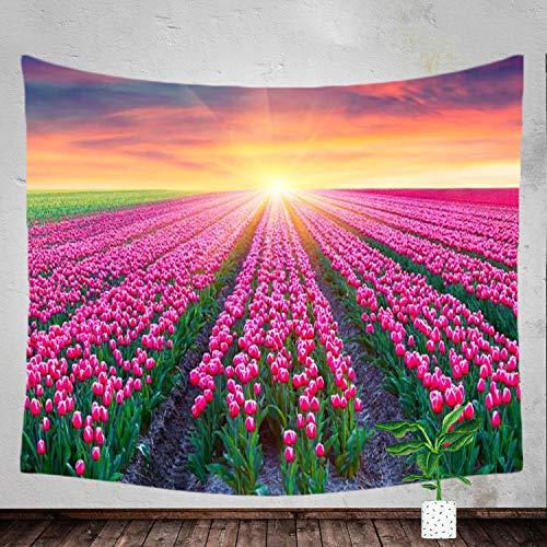 Tapestry Tulip Sunrise Sunlight Flower Field Landscape Wall Hanging Dorm Decor Curtain Living Room Bedroom Decor ((60X40) 150X100) ()