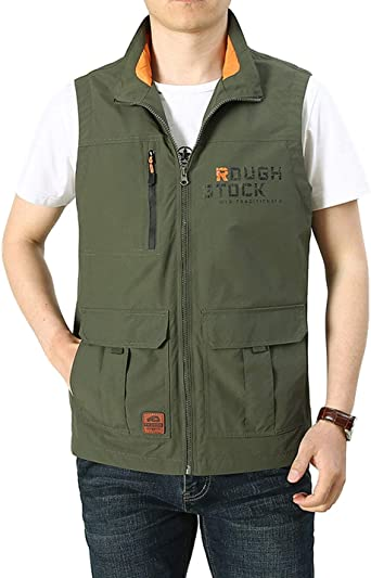 Flygo Mens Casual Outdoor Lightweight Quick Dry Travel Safari Fishing Vest