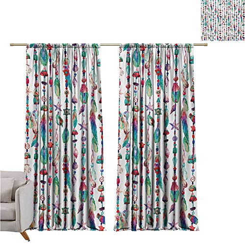 - Littletonhome Feather Fashion Curtain Marine Accessory Chains Pendants Mineral Stones Shells Beads Watercolor Style Art 70%-80% Light Shading, 2 Panels,W108 x L84 Multicolor