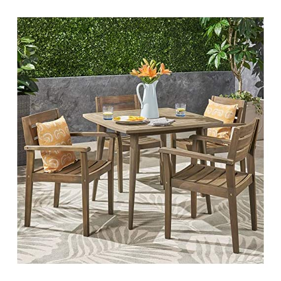 Christopher Knight Home Zack Outdoor 5 Piece Acacia Wood Dining Set wit Straight Legged Dining Table - Few will contest the fact that there is little more invigorating than sharing a meal with loved ones out in the fresh air; this outdoor dining set will give you and three of your closest friends a lovely new place to do just that, both in style and in comfort. Enjoy the warm weather; never spend another summer stuck eating at the kitchen counter. Includes: One (1) Dining Table and Four (4) Dining Chairs. Material: Acacia. Color: Gray Finish. Some Assembly Required. Hand Crafted Details. Table Dimensions: 35.50 inches deep x 35.50 inches wide x 30.00 inches high. - patio-furniture, dining-sets-patio-funiture, patio - 61uDvDHjpJL. SS570  -