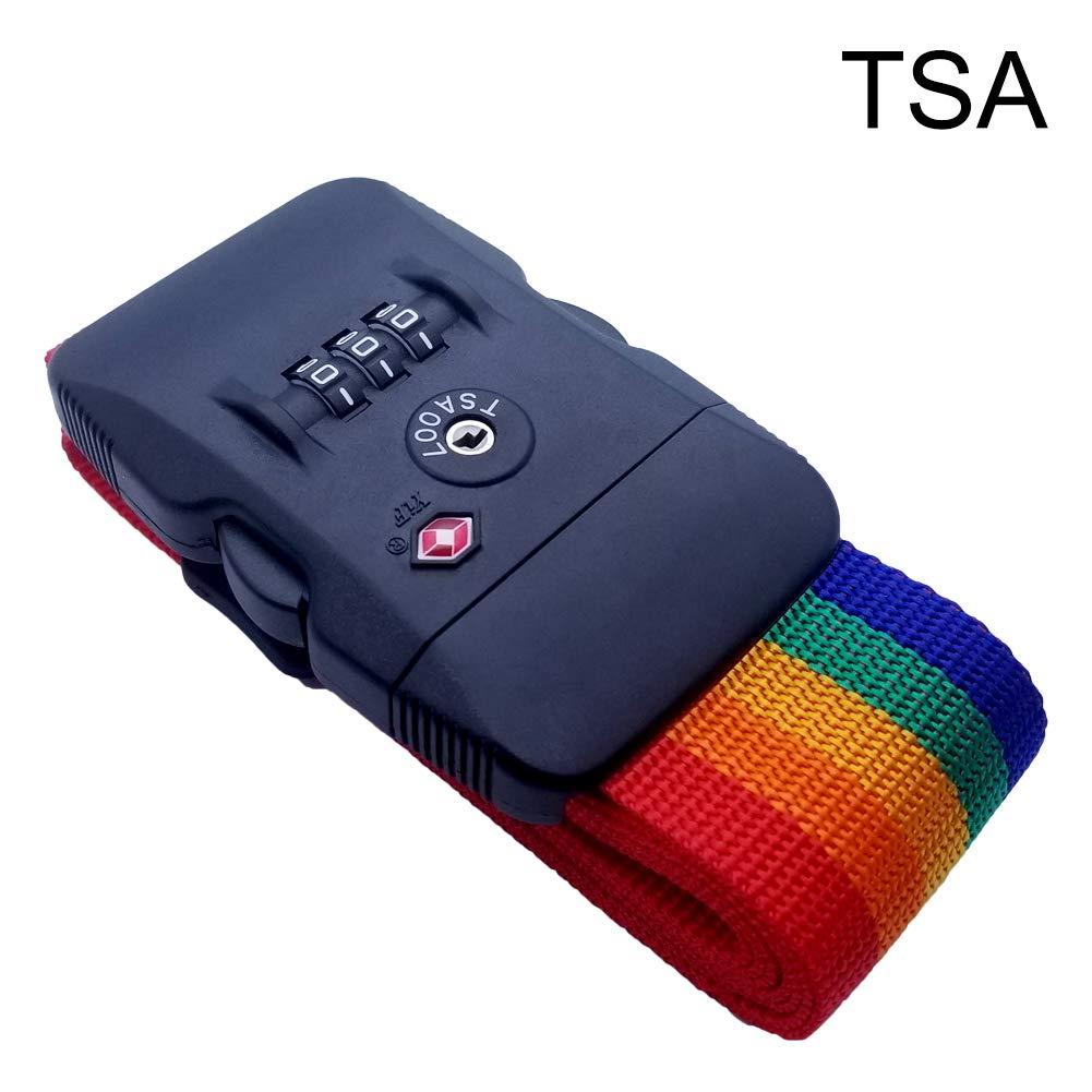 Luggage Strap Adjustable Suitcase Travel Belt with TSA Combination Lock 1pack