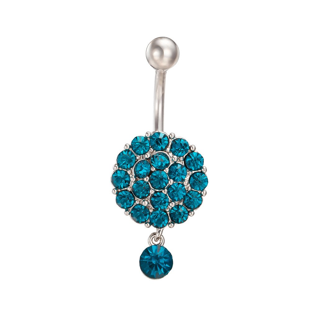 Fashion Women Body Piercing Jewelry 14G Hypoallergenic Stainless Steel Cubic Zirconia Belly Button Ring Navel Rings Full Crystal Strawberry Charm Blue