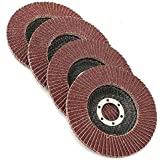 """Grinding Wheels – Flap Grinding Wheels For Angle Grinder - 5 Piece 4 ½ Finish work, deburring, and light grinding Size 4 1/2"""" X 7/8- Grit Aluminum Oxide: Grit #40, #60, #80, #120, #180, - Katzco"""