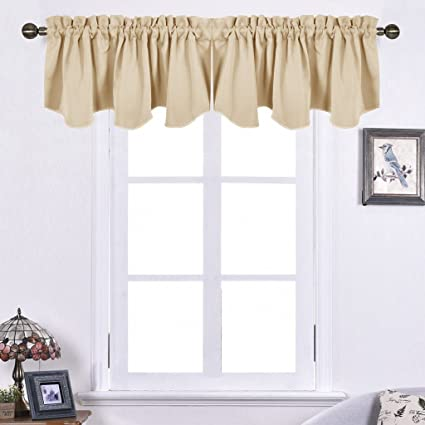 Amazon.com: NICETOWN Living Room Blackout Valances - 52-inch by 18 ...