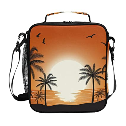90fe3874e060 Amazon.com: Sunset Coconut Tree Lunch Bag Insulated Lunch Box Cooler ...