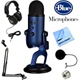 Blue Microphones Yeti USB Microphone + Professional Headphones + Suspension Boom Scissor Arm Stand + Microphone Wind Screen + Mic Stand Adapter + MicroFiber Cloth (Midnight Blue)