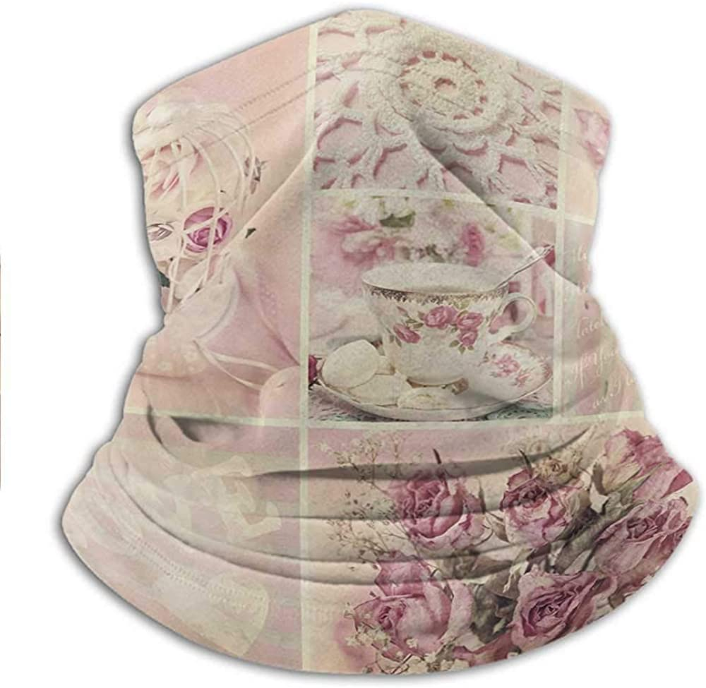 Neck Gaiter Grandmother Mothers Day Vintage Themed Lace Cage Cups Flowers Sun UV Protection Neck Gaiter Face Dustproof Windproof UV Protection 10 x 11.6 Inch