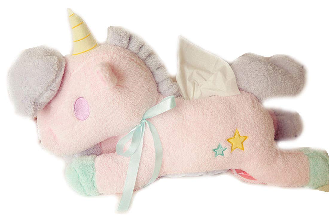 HugeHug Plush Stuffed Unicorn Facial Tissue Storage Box Accessories Unbreakable 20'' (Pink)