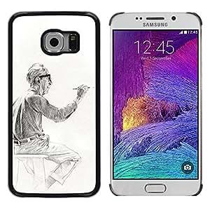 TopCaseStore / la caja del caucho duro de la cubierta de protección de la piel - Man Painting Drawing - Samsung Galaxy S6 EDGE SM-G925