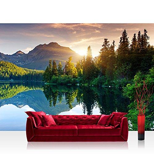 "Photo wallpaper - mountain lake sunset romantic - 118.1""W by 82.6""H (300x210cm) - Non-woven PREMIUM PLUS - MOUNTAIN LAKE VIEW - Wall Decor Photo Wall Mural Door Wall Paper Posters & Prints"
