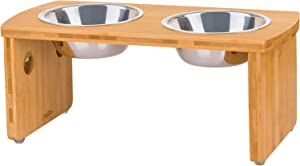 JoyoPaw Bamboo Elevated Dog Bowls, Raised Pet Feeder for Medium Dogs with 2 Stainless Steel Bowls for Food and Water
