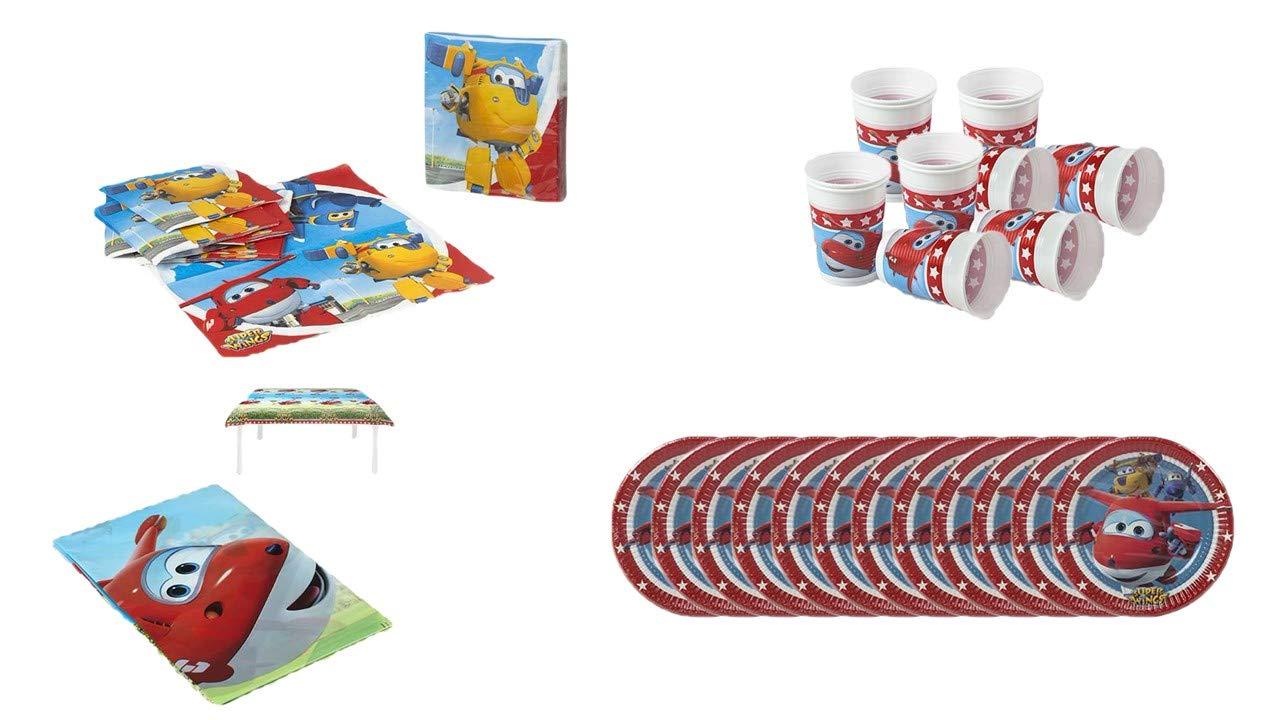 Party Pack o Birthday Superwings; 1 tovaglia da Festa in plastica 120x180cm 12 Bicchieri e 12 Piatti da 20 cm 20 tovaglioli ALMACENESADAN 1076