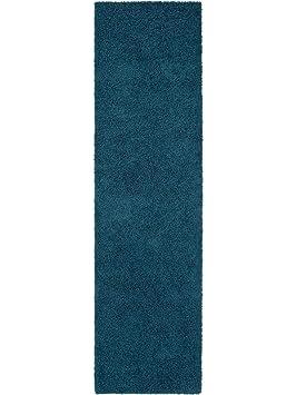Benuta Hochflorteppich Swirls Shaggy Langflor Blau 80x300 Cm