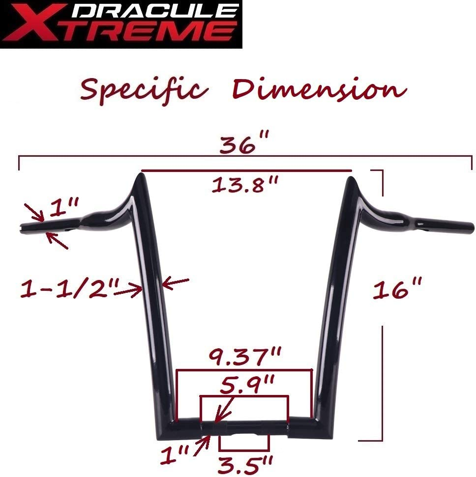 Softail Dyna Baggers 14 Inch Black Handlebars for Harley Davidson Touring Dressers DraculeXtreme Massive 1 1//2 Inch Ape Hangers Handlebars EZ Mounting Wiring. Sportster