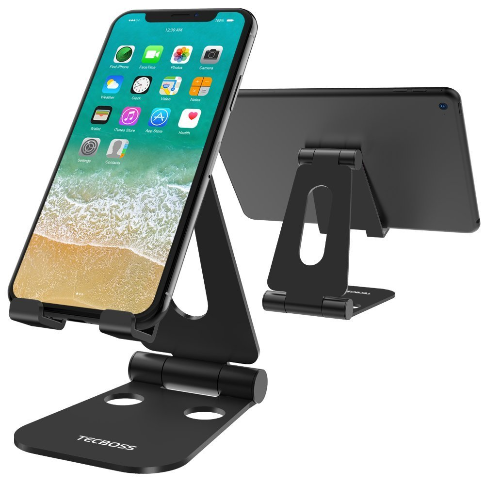 (2 in 1)Tecboss Tablet Stand, Multi-Angle Adjustable Desktop Cell Phone Stand Holder for Nintendo Switch, iPad mini Air 2 3 4 Pro, iPhone 6 7 8 X Plus - Easy Adjust & Take Anywhere by Tecboss (Image #1)
