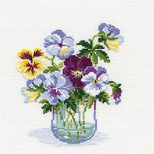RIOLIS 835 16 Count Pansies Counted Cross Stitch Kit, 8