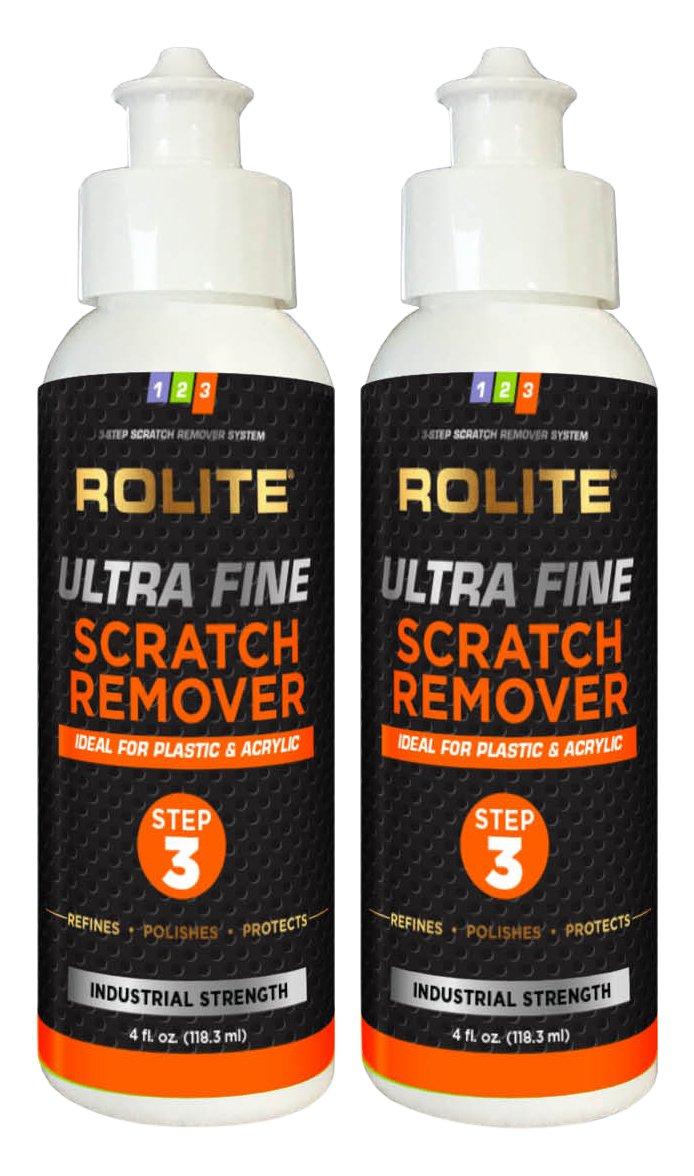 Rolite Ultra Fine Scratch Remover (4 fl. oz.) for Plastic & Acrylic Surfaces Including Marine Strataglass & Eisenglass, Headlights, Aquariums 2 Pack