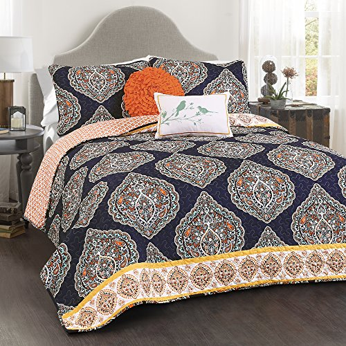 Lush Decor Lush Décor Harley 5 Piece Quilt Set, Full/Queen, Navy (Blue Damask Bedding)