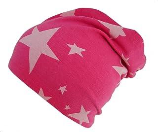 Woll poule Long pour bonnet réversible, de Bonnet, toute l'année, avec étoiles rose/rose, intérieur gris uni, pour les filles, 20150821 toute l'année avec étoiles rose/rose intérieur gris uni