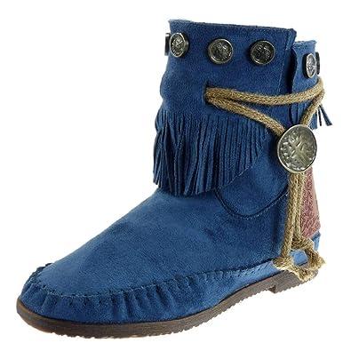 eacf4b1e0792b Angkorly - Chaussure Mode Bottine Bottes Indiennes Femme Frange lanière  métallique Talon Bloc 1.5 CM -